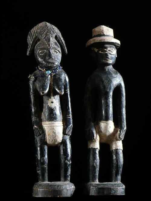 Statuettes polychromes anciennes - Baoule / Tagwana - Cote Ivoir