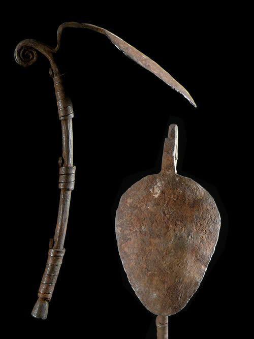 Monnaie primitive en fer noir Darba - Kirdi / Vere - Cameroun /