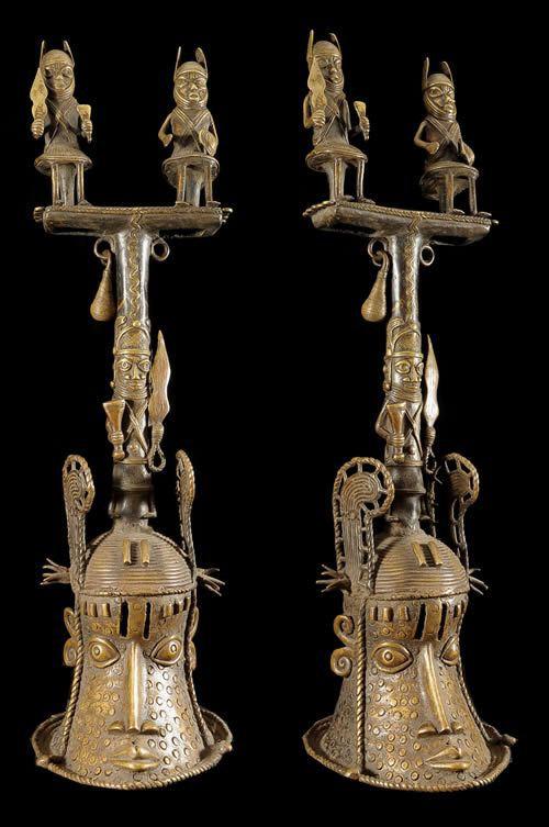 Cloche Ceremonielle - Nigeria - BIni Edo - Bronze cire perdue