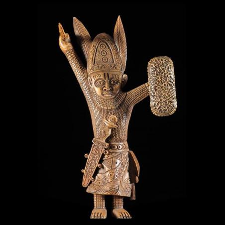 Statuette Oba en Os - Bini...