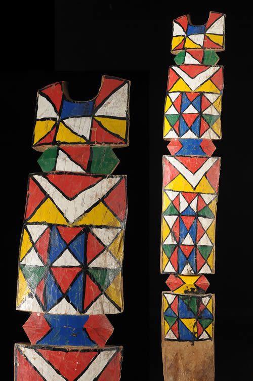 Poteau de lit polychrome - Peul Rimaybe / Rabese - Niger