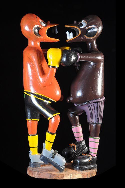 Sculpture Shetani Boxeurs - George Lilanga - Makonde