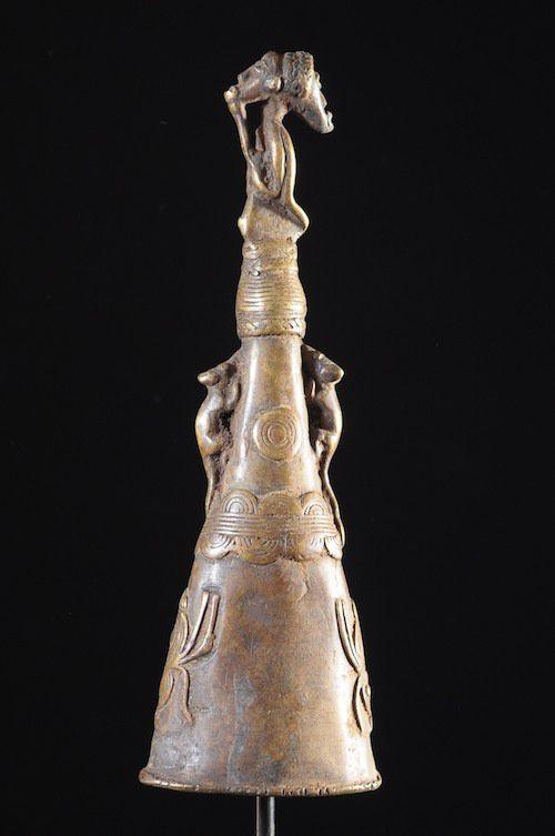 Marteau et gong en bronze - Lawle - Baoule - Côte d'Ivoire - Divination