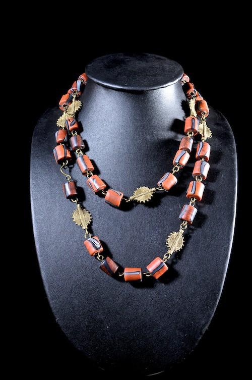 Collier en laiton et perles de traite  - Bambara - Mali