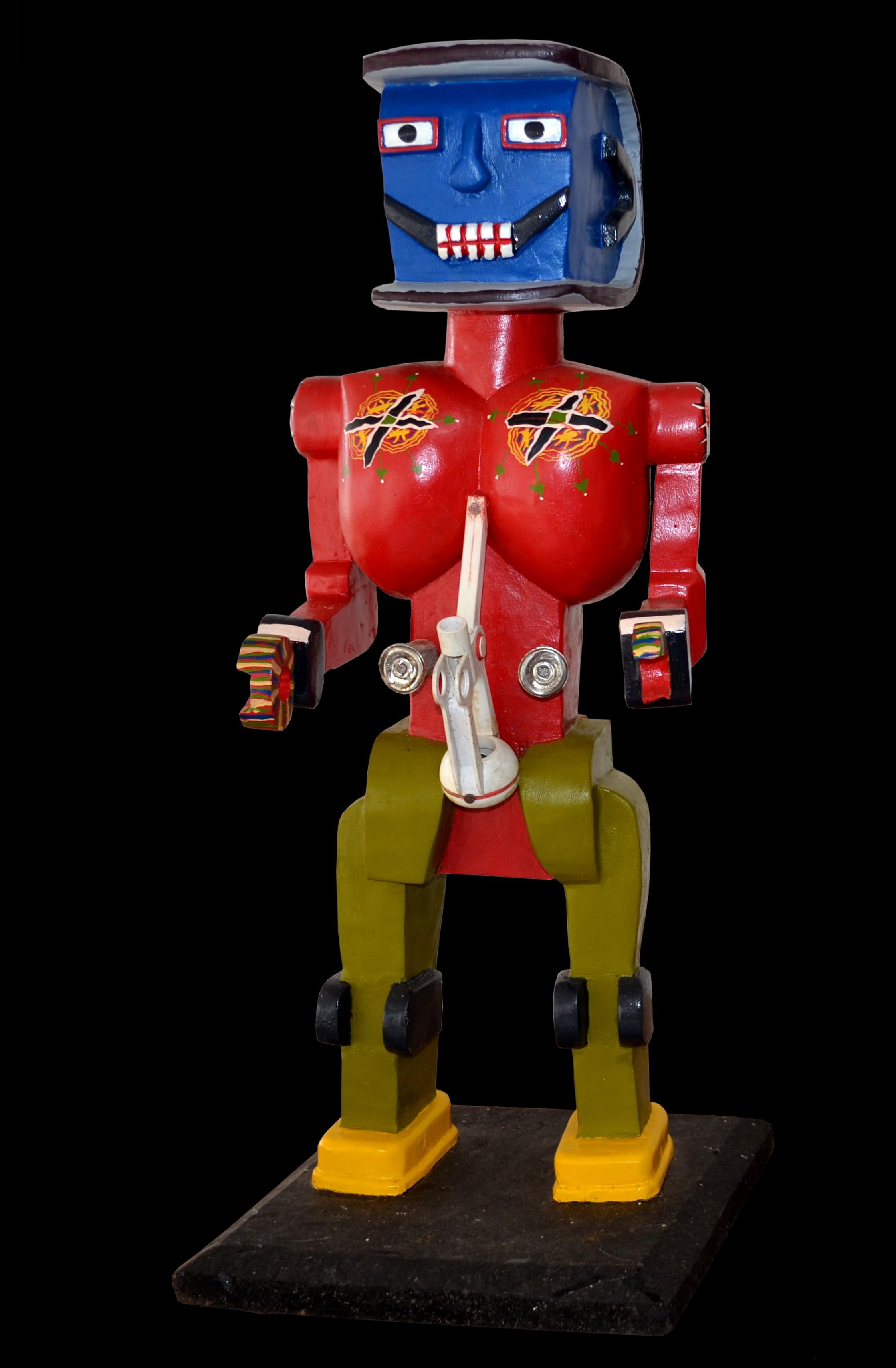 Robot red with blue head - Sculpture polychrome - Camara Demba - 2012