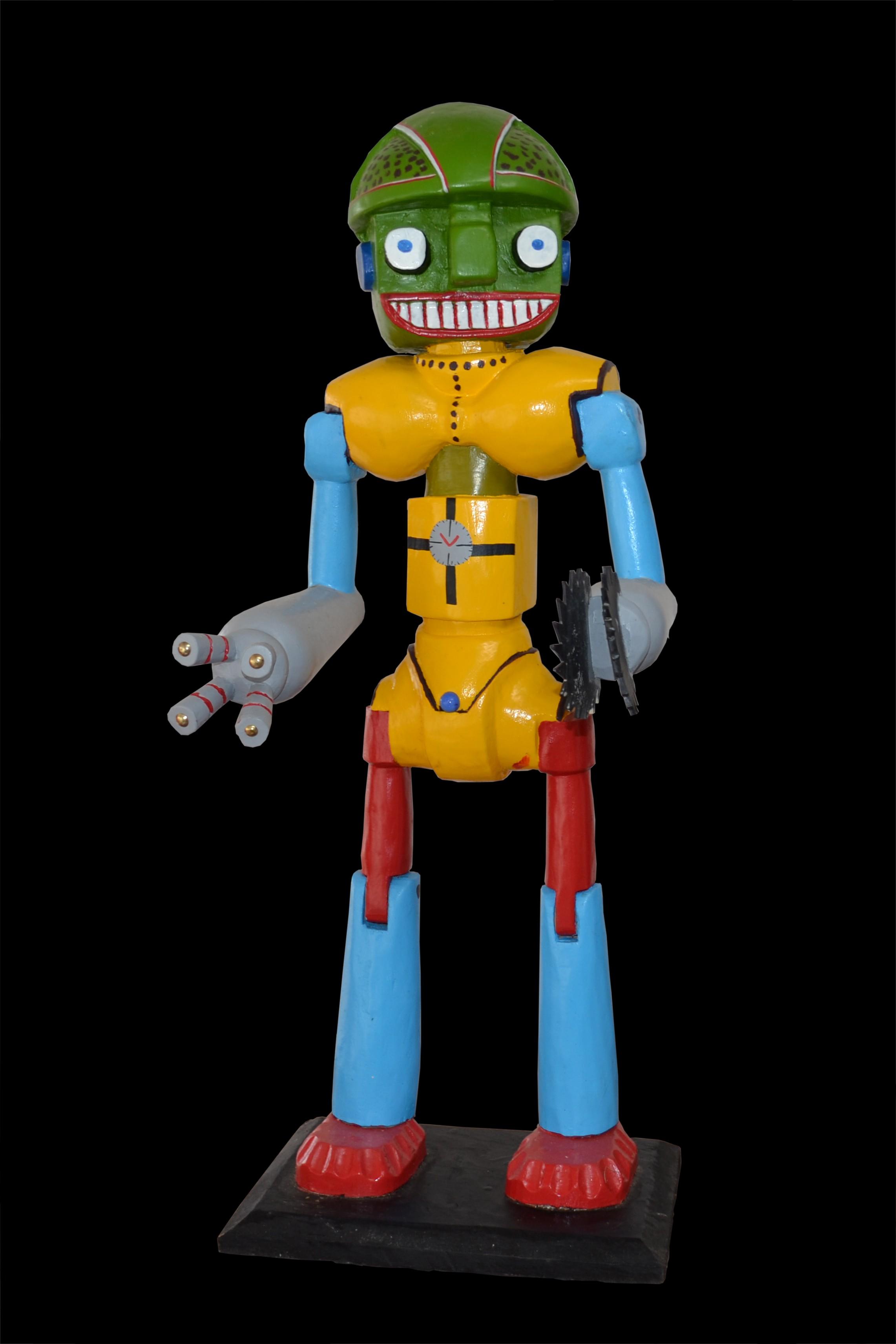 Robot yellow with green head - Sculpture polychrome - Camara Demba - 2012