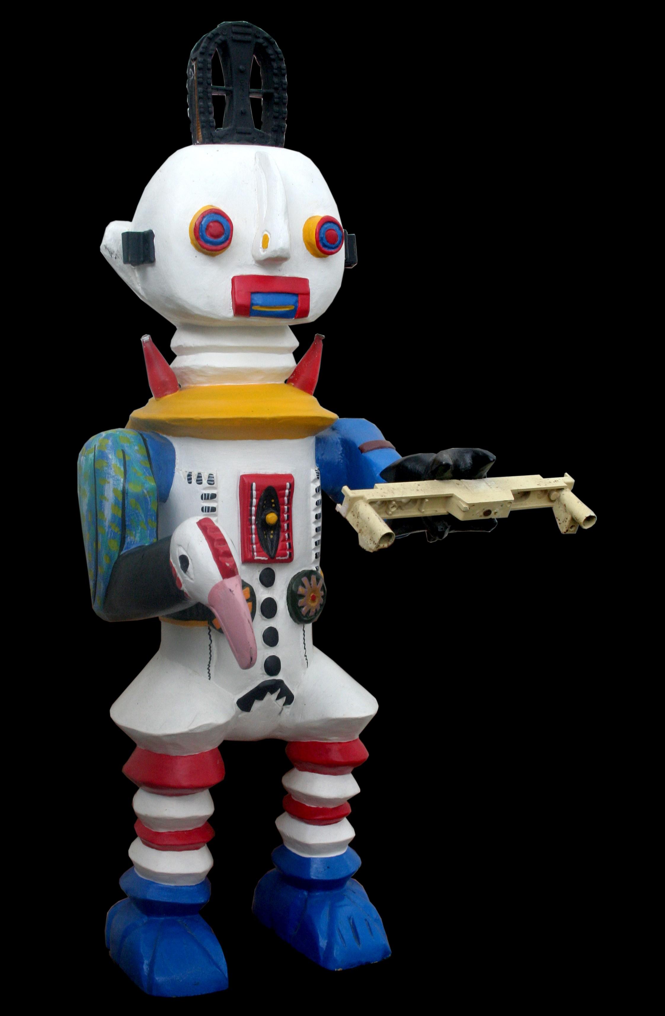 Robot white - Sculpture polychrome - Camara Demba - 2012