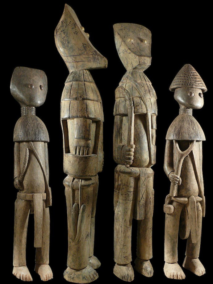 Ensemble de 4 statues du Poro - Kafigueledjo - Senoufo - Côte d'Ivoire