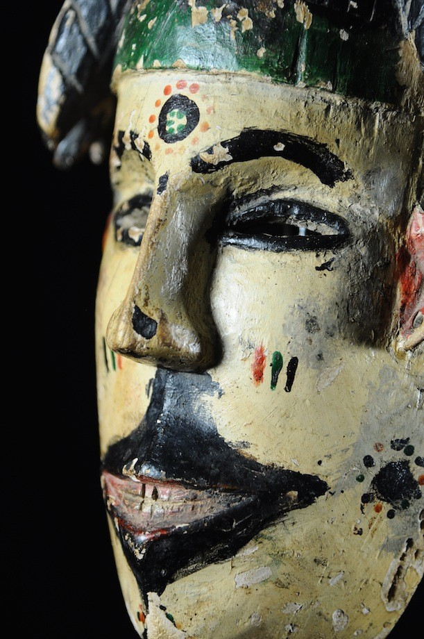 Masque polychrome ancien - Ibibio - Nigeria - masques africains