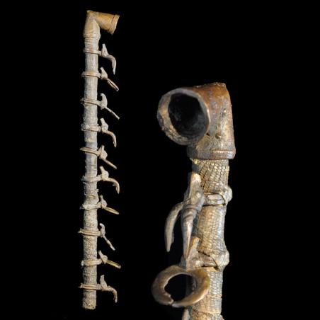 Pipe a tabac rituelle en bois et bronze - Sénoufo - Côte Ivoire