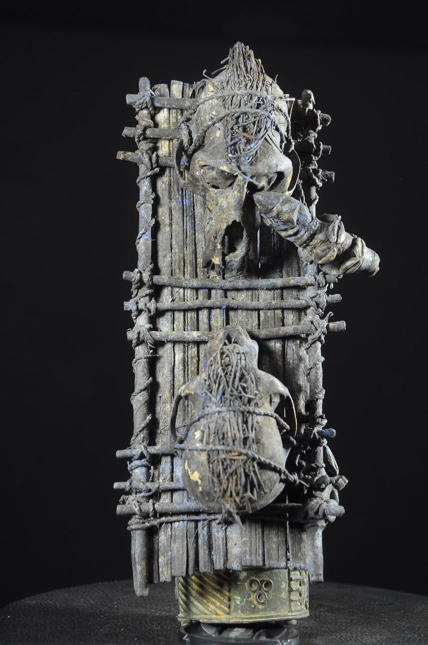 Fetiche Cranes de singe et gourde - Vaudou - Fongbe - Benin