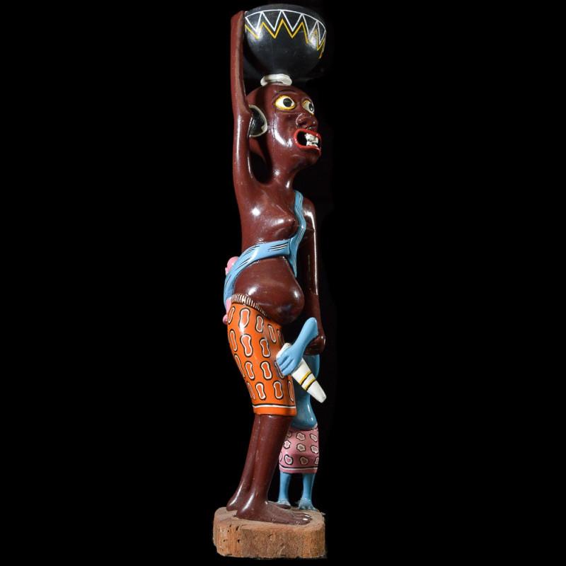 Sculpture Shetani Femme et enfant - Agostino Malaba - Makonde