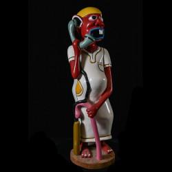 Sculpture Shetani Homme Au Télephone - Agostino Malaba - Makonde