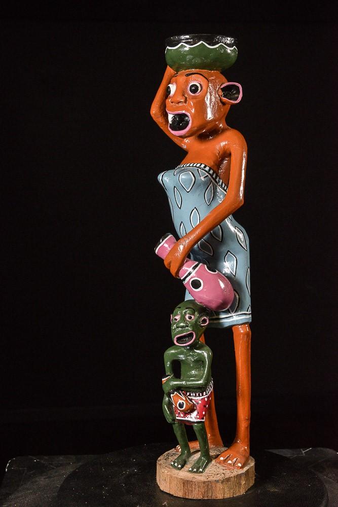 Sculpture Shetani Femme Vase Et Enfant - George Lilanga - Makonde