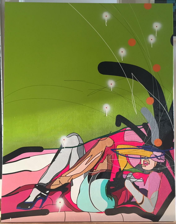 Huile sur toile 114 x 146 cm - Greenwall - Cedrix Crespel - 2014