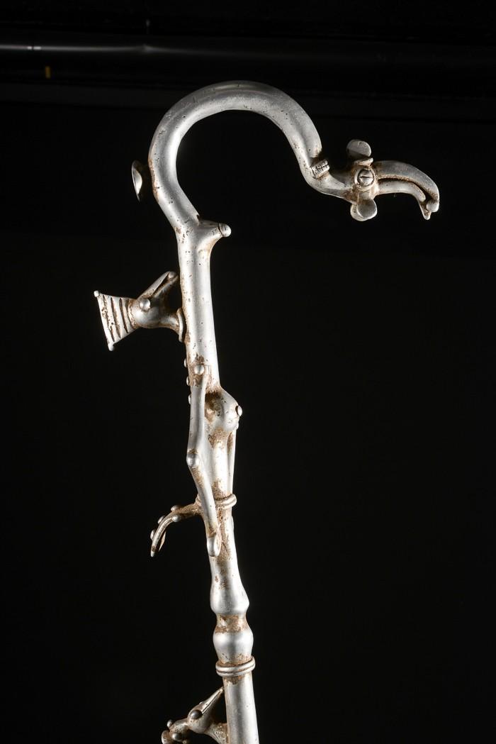Canne de dignitaire en fonte aluminium - Bwa- Benin - Objets de regalia