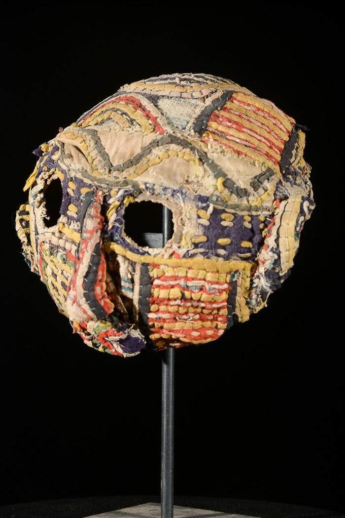 Masque calebasse en textile Mbulu - Ibo / Igbo - Nigeria