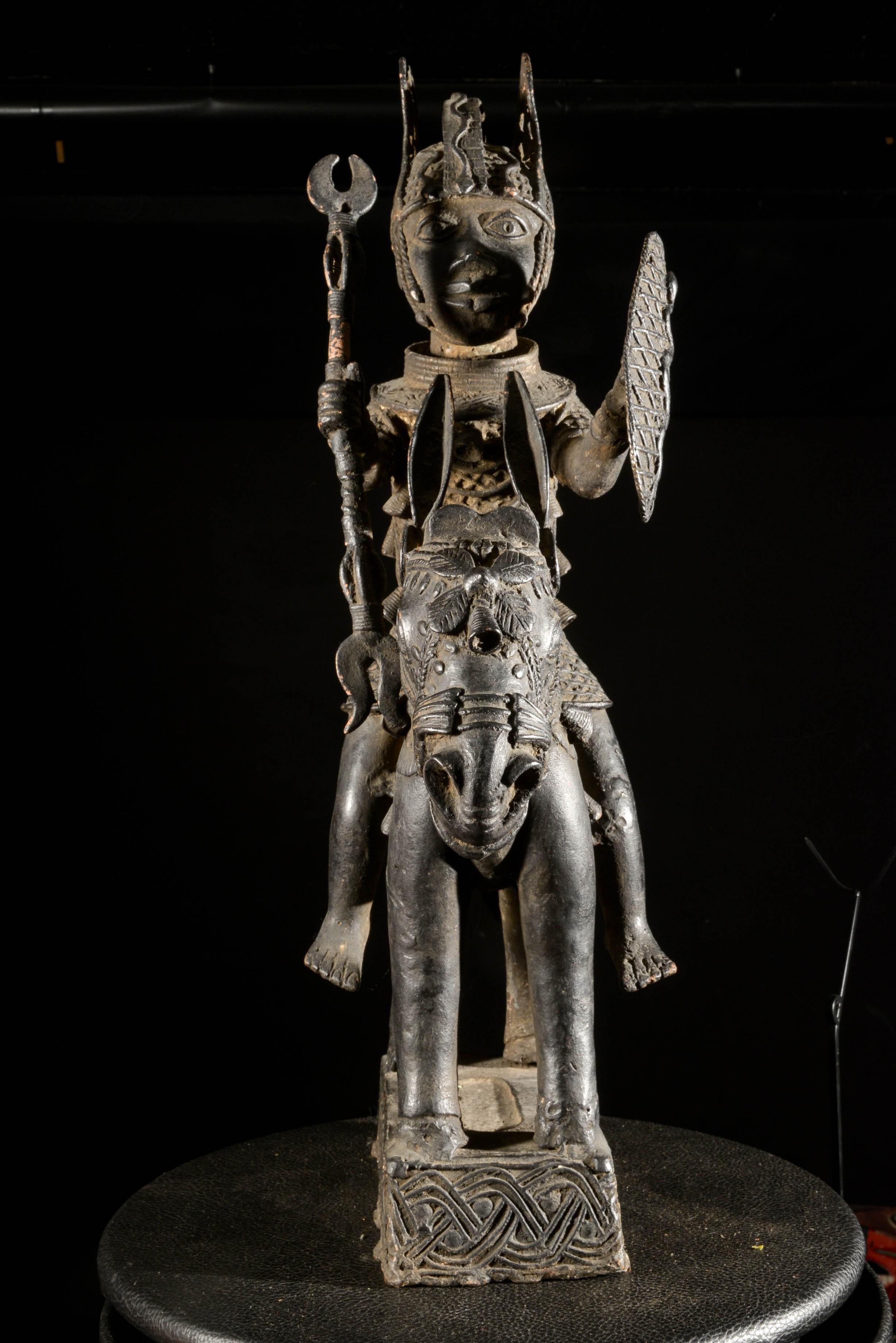 Cavalier en alliage bronzier - Nigeria - BIni Edo - Bronze cire perdue
