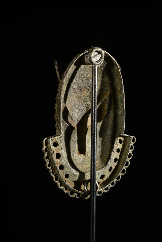 Masque de ceinture léopard en bronze - Bini - Benin Nigeria