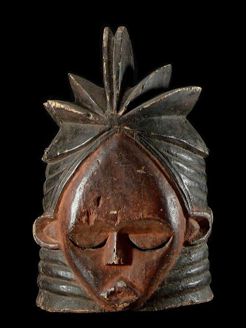 Masque casque Sowei janiforme ancien - Sande - Mende - Sierra Le