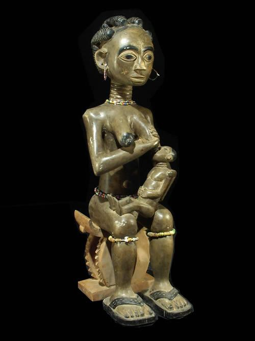 Maternite polychrome - Fanti - Ghana - Statues africaines