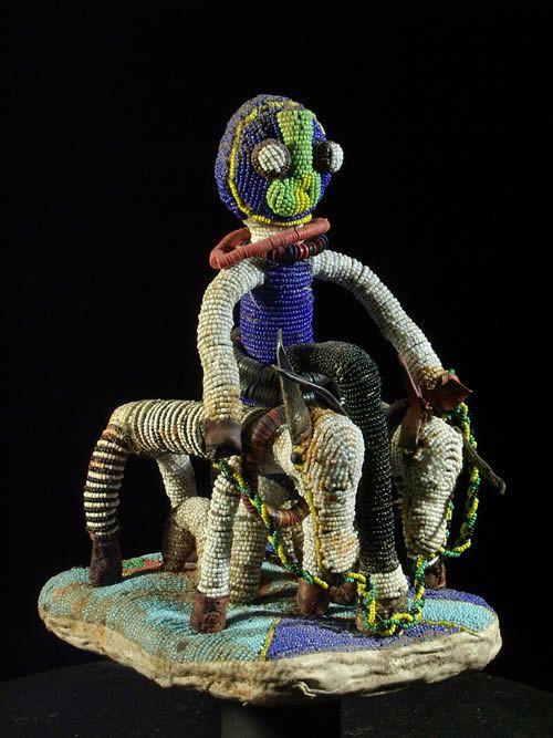 Scene cavaliere d'autel royal en perles - Yoruba - Nigeria