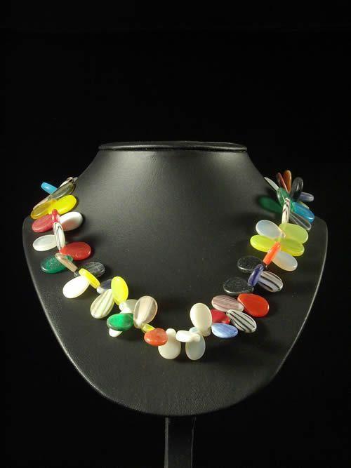 Monnaie primitive Prosser perles verre plates - Peul / Fulani -