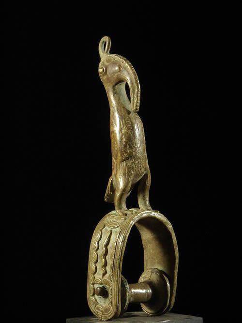 Etrier de poulie a tisser calao bronze - Senoufo - Côte d'Ivoire