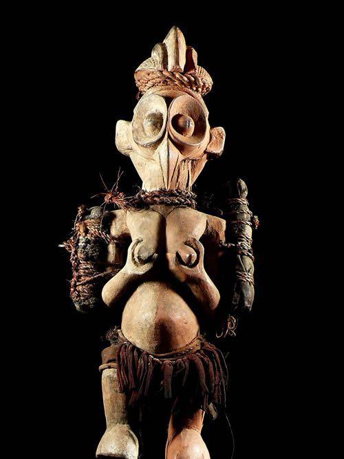 Statue Cultuelle Khosi janiforme - Yaka - RDC Zaire - Statue afr