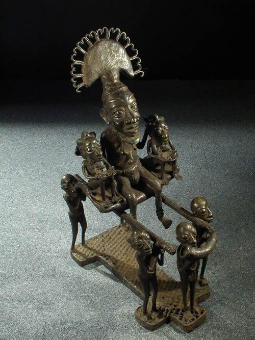 Roi Bamoun et porteurs en bronze - Cameroun - Bronzes Bamoun