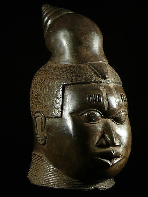 Tete commemorative moderne en Bronze - Bini Edo - Nigeria