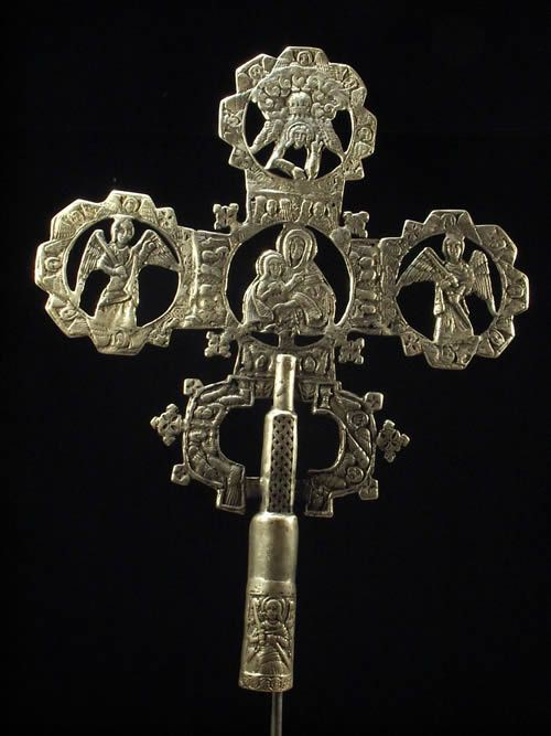 Croix processionnelle Copte Maskal avec socle - Oromo / Amhara