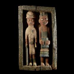 Panneau Bas relief Colons -...