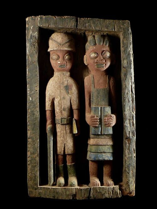 Panneau Bas relief Colons - Photo Africaine - Yoruba - Nigeria