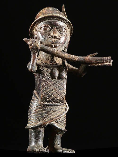 Statuette de Messager- Bini Edo - Benin - Bronzes du Benin