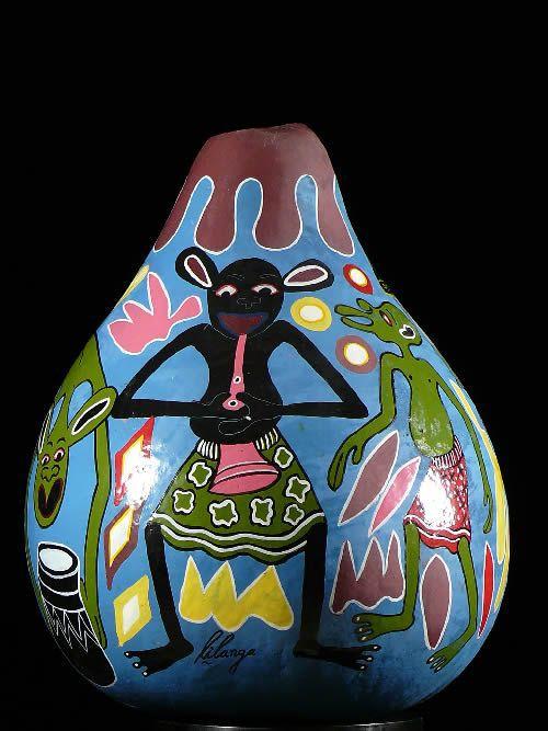 Calebasse peinte - George Lilanga - Makonde