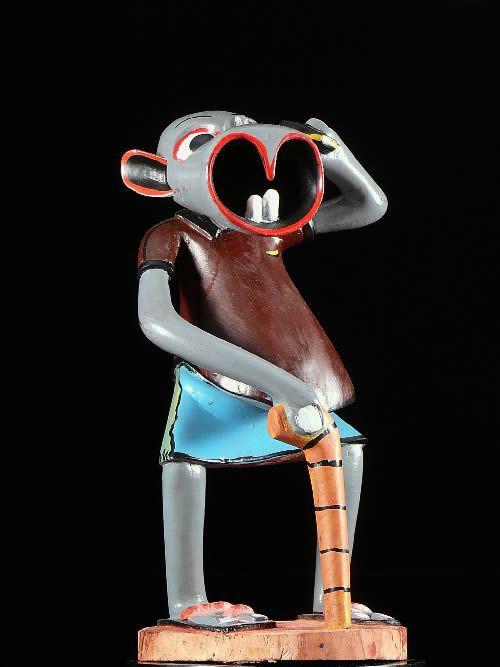 Sculpture Shetani telephone - George Lilanga - Makonde