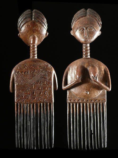 Peigne ancien en bois - Ashanti - Ghana - Coiffes africaines