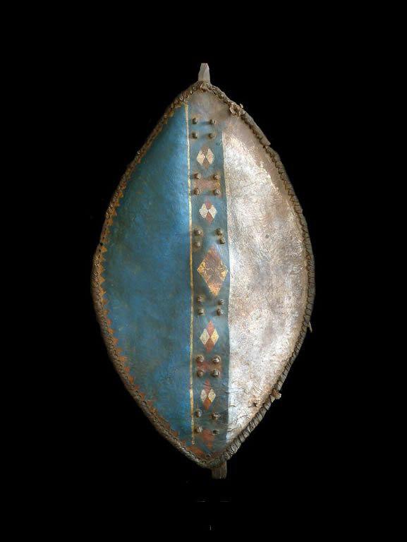Bouclier en cuir polychrome - Meru - Kenya - Boucliers africains