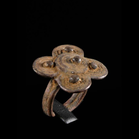 Bague amulette trefle -...