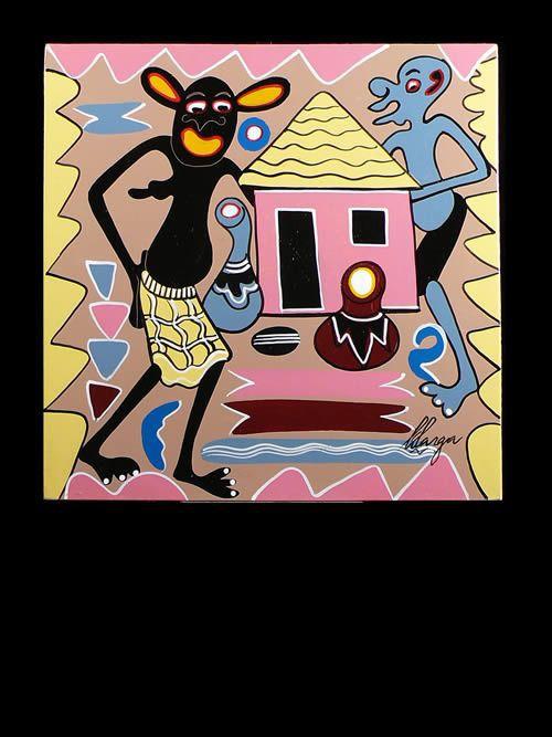 Peinture 30 x 30 - George Lilanga - Makonde