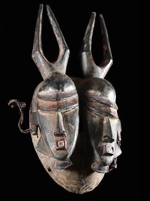 Masque de naissance polychrome - Djimini / Jimini - Côte d'Ivoire