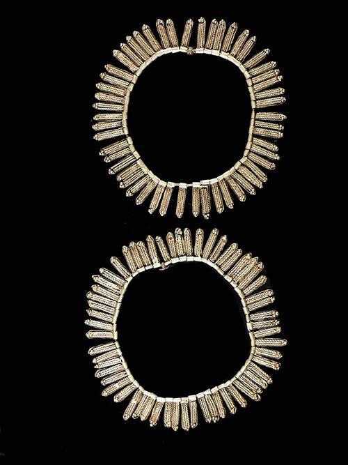 Paire de chevilleres en metal argente - Amhara - Ethiopie