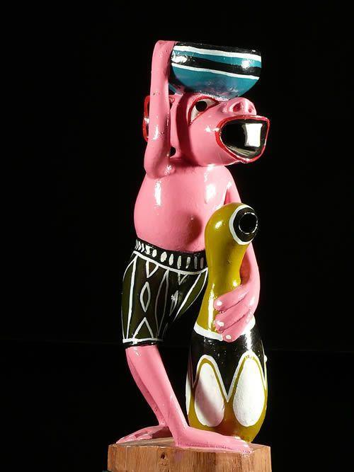 Sculpture Shetani Porteur rose - George Lilanga - Makonde