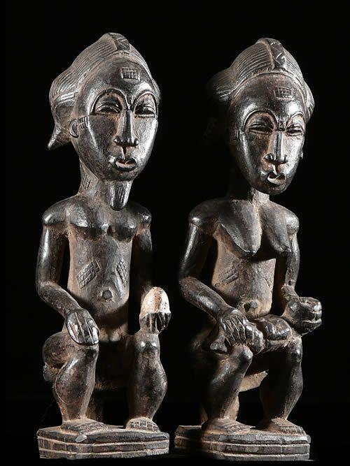 Statue votive de couple royale - Baoule - Côte d'Ivoire
