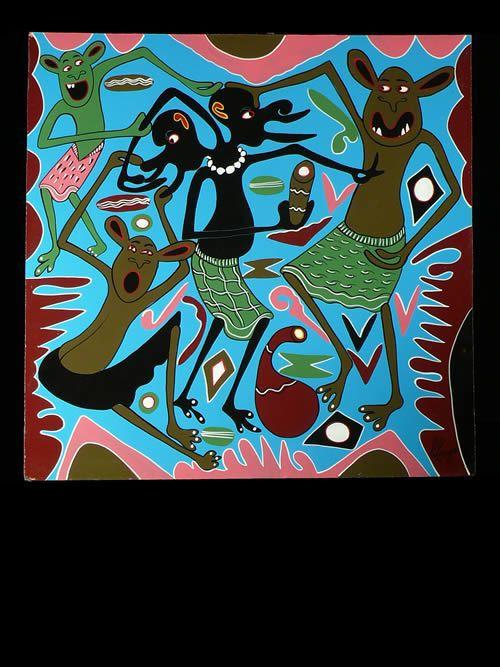 Peinture 60 x 60 - George Lilanga - Makonde