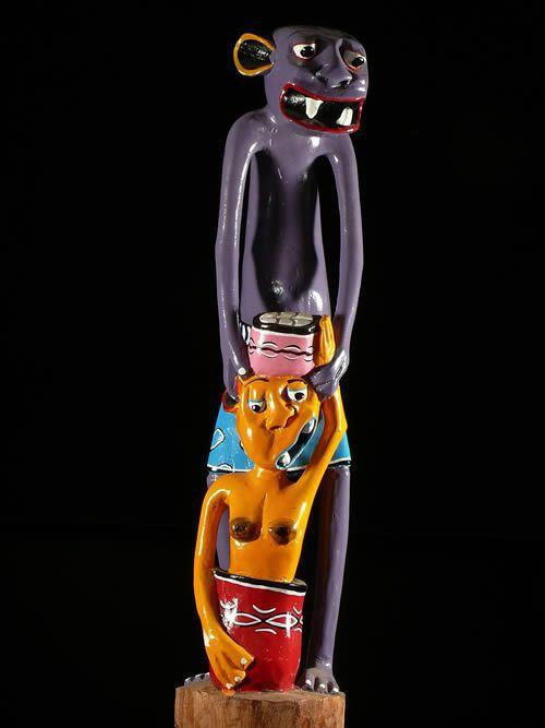 Sculpture Shetani Grande Violet - George Lilanga - Makonde