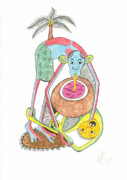 Dessin au Crayon - George Lilanga - Makonde