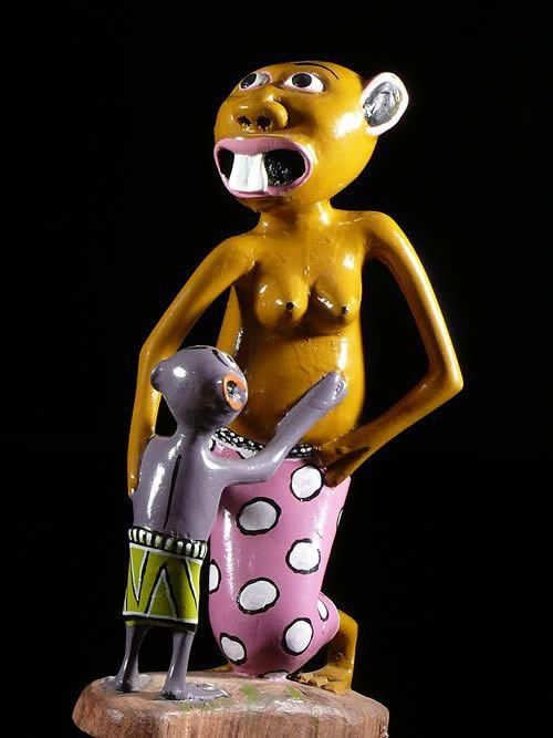 Sculpture Shetani Mere et fils - George Lilanga - Makonde