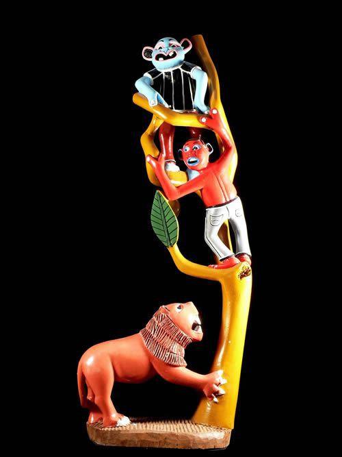 Sculpture Shetani Le Lion - George Lilanga - Makonde